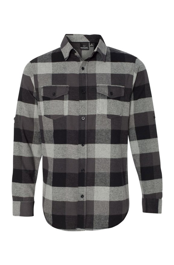 mens collars Long Sleeve Flannel Grey And Black