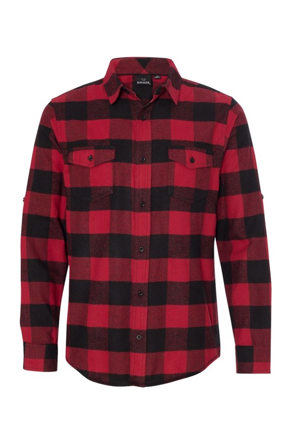 mens collars Long Sleeve Flannel Red And Black