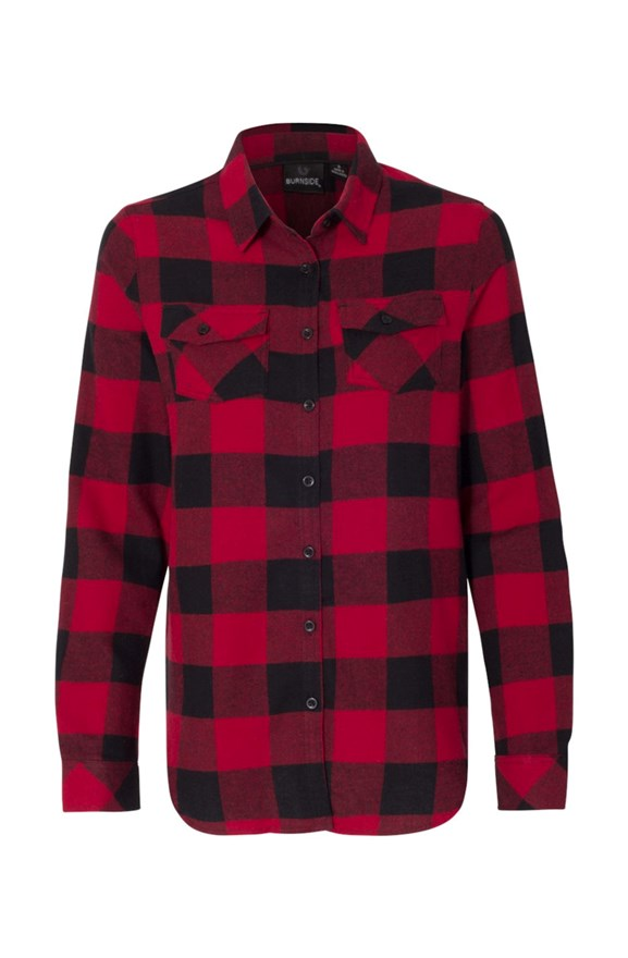 womens collars Womens Long Sleeve Red Flannel