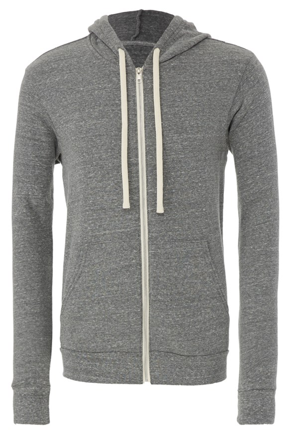 mens hoodies tri blend zip hoody